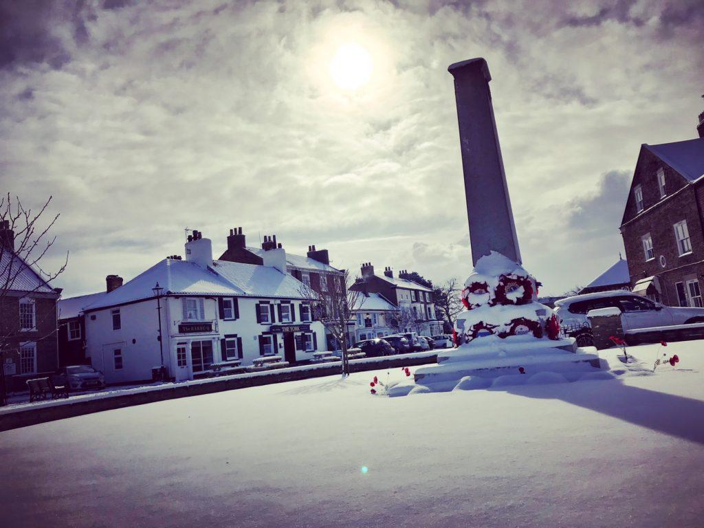 Easingwold's war memorial in the snow