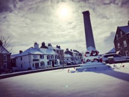 Easingwold's war memorial in the snow