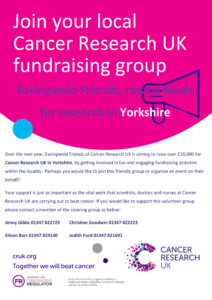Easingwold Cancer Research Recruitment Poster